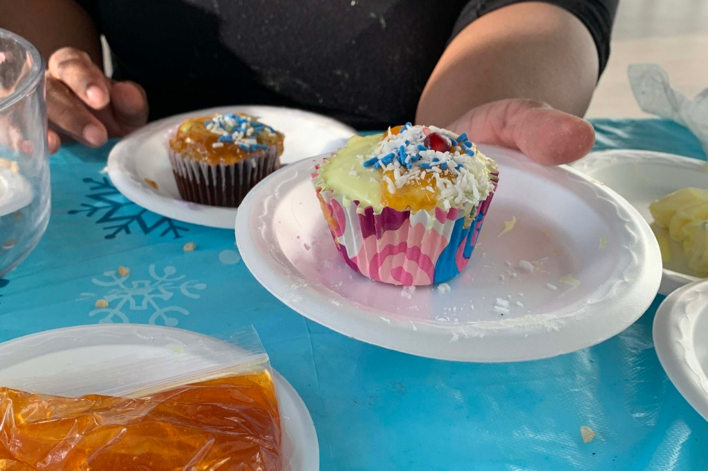 A participant presents a neatly decorated cupcake with a few sprinkles and coconut shavings on top